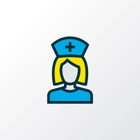 Nurse icon colored line symbol. Premium quality isolated woman doctor element in trendy style.