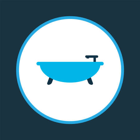 Bathroom icon colored symbol. Premium quality isolated tub element in trendy style. Ilustracja