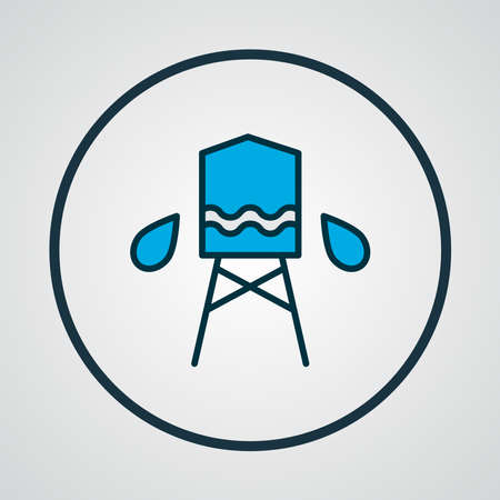 Water tank icon colored line symbol. Premium quality isolated reservoir element in trendy style. Ilustração