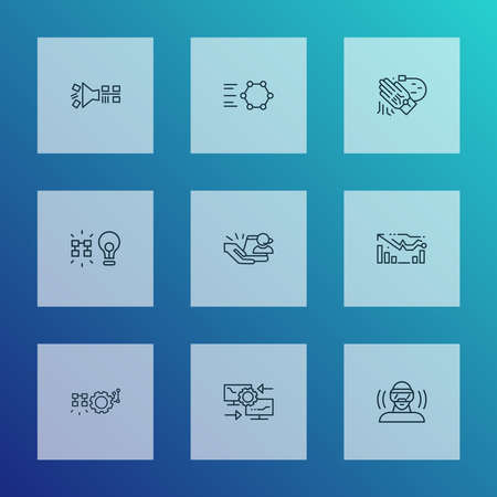 Connection icons line style set with automated solutions, data filtering, reverse engineering and other solution elements. Isolated vector illustration connection icons.