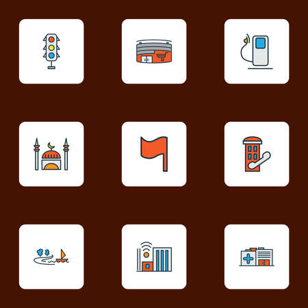 Public. Skyline icons colored line set with smart city, shopping mall, hospital and other clinic elements. Isolated vector illustration public. Skyline icons.