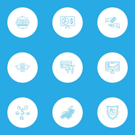 Economy icons line style set with get payment, stock market, money flow and other flight elements. Isolated vector illustration economy icons.