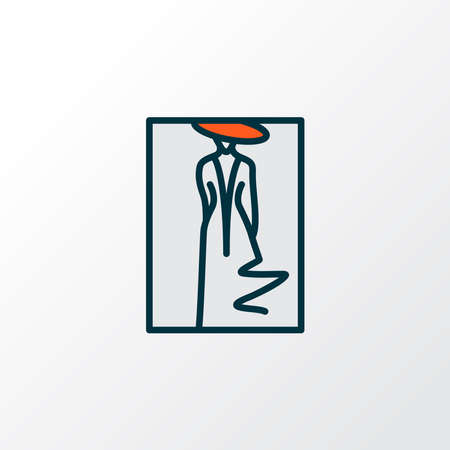 Fashion sketch icon colored line symbol. Premium quality isolated drawing element in trendy style. Иллюстрация