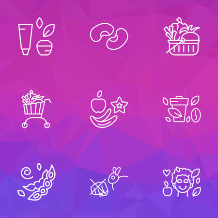 Vegetarian icons line style set with no cruelty, soya beans, vegan coffee and other legume elements. Isolated vector illustration vegetarian icons. 일러스트