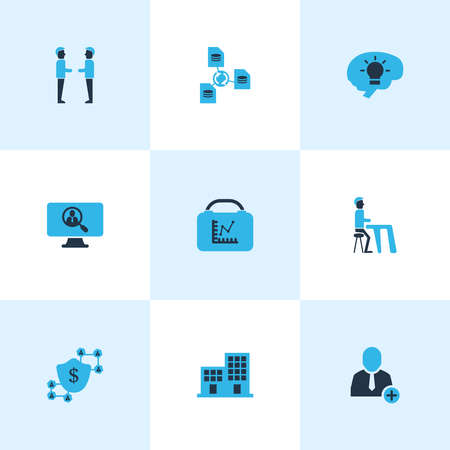 Work icons colored set with team, blockchain, file sharing and other register account elements. Isolated vector illustration work icons. 向量圖像