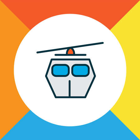 Cable car icon colored line symbol. Premium quality isolated ski cabin element in trendy style.