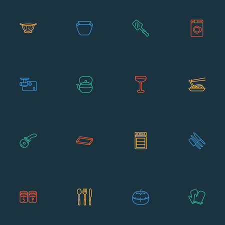 Gastronomy icons line style set with washing machine, salt with pepper, meat grinder and other saltshaker elements. Isolated vector illustration gastronomy icons.