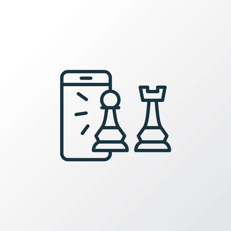 Mobile chess icon line symbol. Premium quality isolated smartphone element in trendy style. Vettoriali