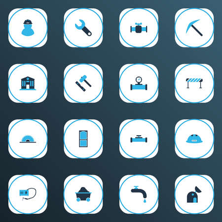 Construction icons colored set with set for laying tiles, barrage, sawmill and other college  elements. Isolated vector illustration construction icons.
