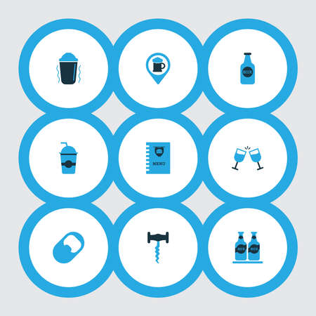 Drink icons colored set with corkscrew, beer bottle, goblet and other cheers elements. Isolated vector illustration drink icons.