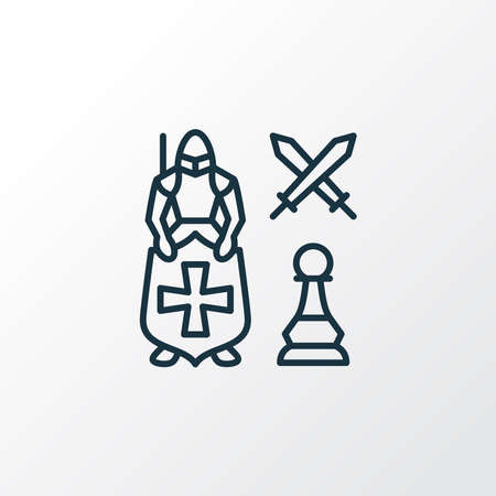 Leadership icon line symbol. Premium quality isolated knight against pawn element in trendy style. Archivio Fotografico - 151361257