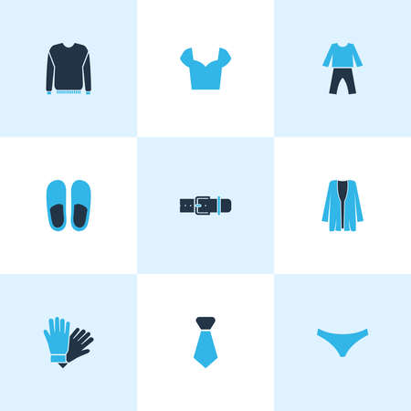 Dress icons colored set with tie, cardigan, gloves and other strap elements. Isolated vector illustration dress icons. 일러스트