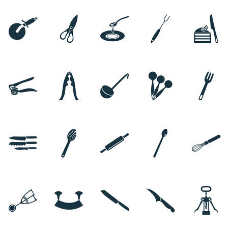 Kitchenware icons set with blade, wooden spoon, dishware and other ice cream scoop elements. Isolated vector illustration kitchenware icons.