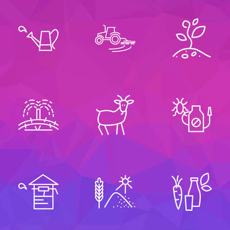 Agriculture icons line style set with grain drying, plant growing, organic products and other insecticide elements. Isolated vector illustration agriculture icons. 矢量图像