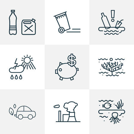 Eco icons line style set with water pollution, trash can, eco car and other container elements. Isolated vector illustration eco icons.