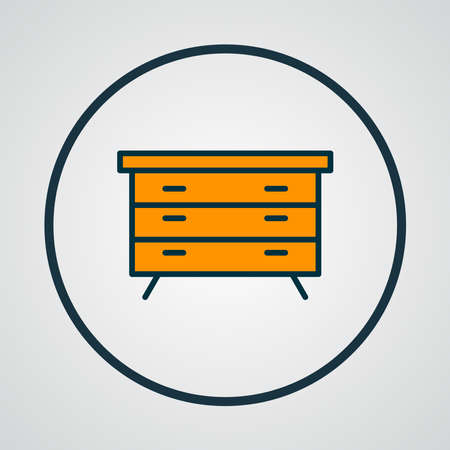Dresser icon colored line symbol. Premium quality isolated sideboard element in trendy style.
