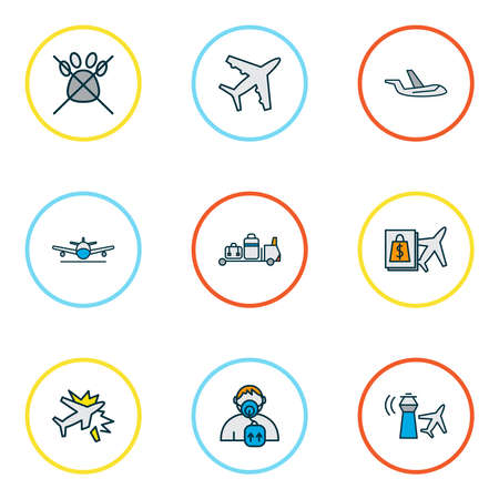 Traveling icons colored line set with landing plane, aircraft, no animals respiratory elements. Isolated illustration traveling icons.