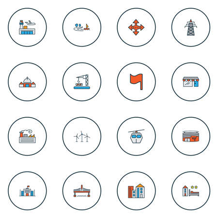 Public. Skyline icons colored line set with flag, airport, bridge and other intersection elements. Isolated illustration public. Skyline icons.