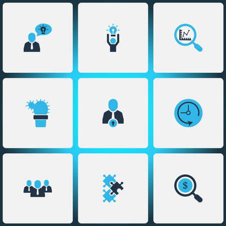 Job icons colored set with best solution, office plant, research and other creative person elements. Isolated illustration job icons.
