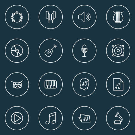 Multimedia icons line style set with lover, speaker, gramophone and other soundtrack elements. Isolated illustration multimedia icons. Standard-Bild