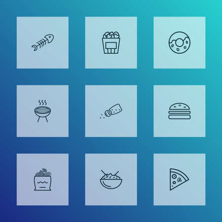 Nutrition icons line style set with onion rolls, barbecue, rice bowl and other fish skeleton elements. Isolated illustration nutrition icons.