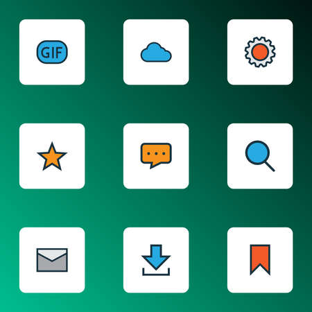 Communication icons colored line set with favorite, bookmark, message and other magnifier elements. Isolated illustration communication icons.