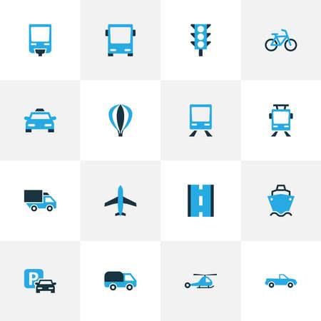 Shipment icons colored set with pickup, road, train and other way elements. Isolated illustration shipment icons.
