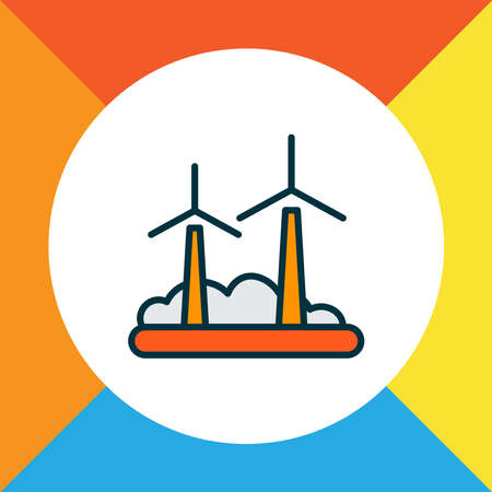 Wind turbine icon colored line symbol. Premium quality isolated windmill element in trendy style. Vettoriali