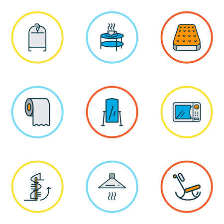 Home decoration icons colored line set with floor mirror, toilet paper, clothing rack and other stepladder elements. Isolated vector illustration home decoration icons.