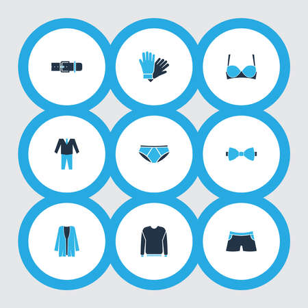 Garment icons colored set with pants, suit, cardigan and other pullover elements. Isolated illustration garment icons. Foto de archivo
