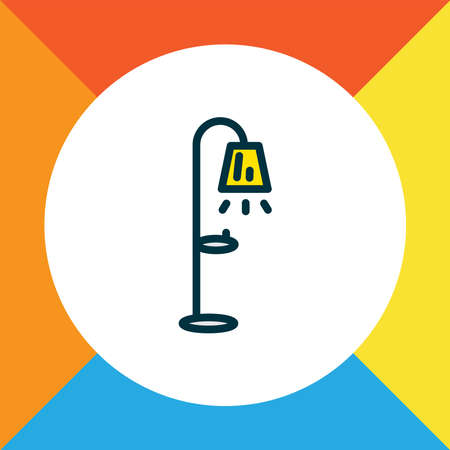 Floor lamp icon colored line symbol. Premium quality isolated streetlight element in trendy style. Illustration