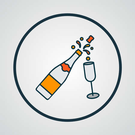 Champagne icon colored line symbol. Premium quality isolated fizz element in trendy style.