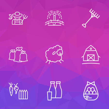 Farming icons line style set with sacks, egg basket, barn and other easter elements. Isolated vector illustration farming icons.