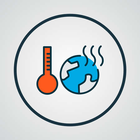 Global warming icon colored line symbol. Premium quality isolated world temperature element in trendy style.