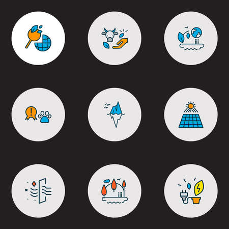 Eco icons colored line set with iceberg, ecology, power from plants and other environment elements. Isolated illustration eco icons. Banque d'images