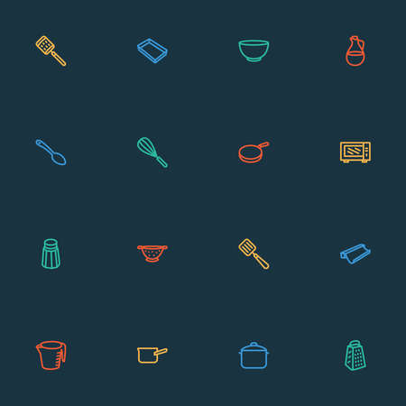 Utensil icons line style set with colander, salt, baking paper drainer elements. Isolated illustration utensil icons. Banque d'images - 152650692
