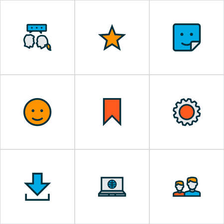 Network icons colored line set with emoji, settings, friends and other badge elements. Isolated illustration network icons. Banque d'images - 152650675