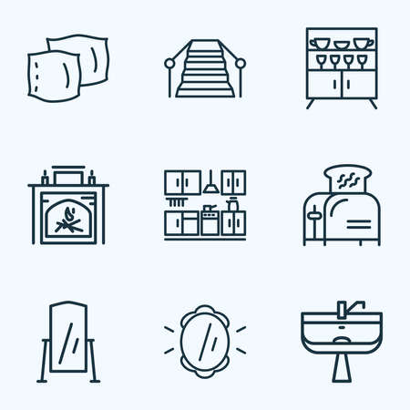 House icons line style set with floor mirror, toaster, cupboard and other cup shelf elements. Isolated illustration house icons.