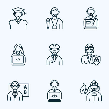 Occupation icons line style set with programmer woman, designer, journalist and other coder elements. Isolated illustration occupation icons.