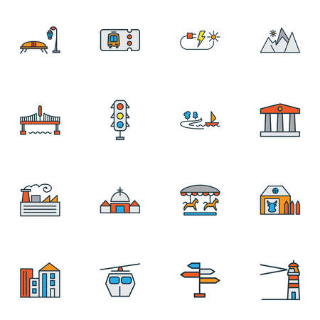 City icons colored line set with navigation sign, lighthouse, church and other chapel elements. Isolated illustration city icons. Banque d'images - 152650734