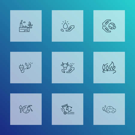 Environment icons line style set with bio energy, green factory, reduce waste and other automobile elements. Isolated illustration environment icons.