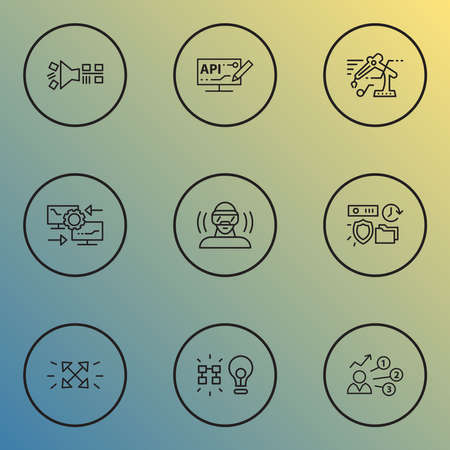 Connection icons line style set with virtual reality headset, data filtering, data insight and other vr spectacles elements. Isolated illustration connection icons. Banque d'images