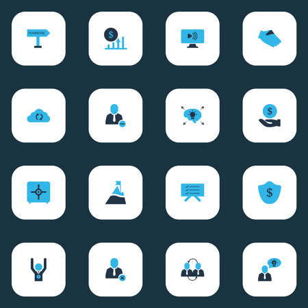 Work icons colored set with winner, different ideas, protection and other vlog elements. Isolated vector illustration work icons.