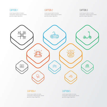 Hobby icons line style set with playground, scooter, spinner and other moped elements. Isolated vector illustration hobby icons.