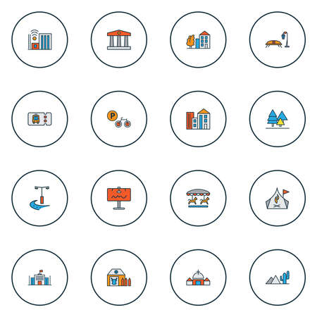 Urban icons colored line set with billboard, farm house, tree with building and other barn elements. Isolated vector illustration urban icons.