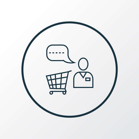 Shopping assistant icon line symbol. Premium quality isolated helpline element in trendy style. Banque d'images - 152753266