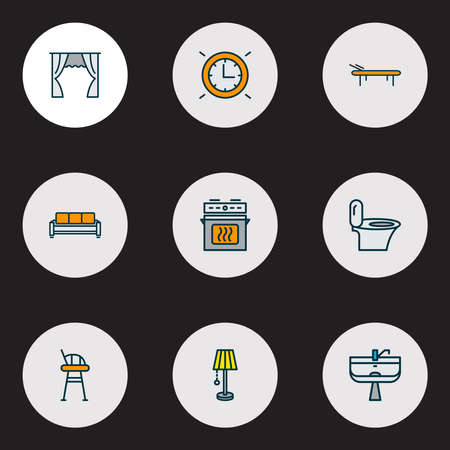 House icons colored line set with toilet, couch, curtain and other sofa elements. Isolated vector illustration house icons. Banque d'images - 152757486