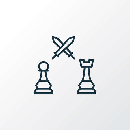 Pawn against rook icon line symbol. Premium quality isolated fight element in trendy style. Banque d'images - 152757504