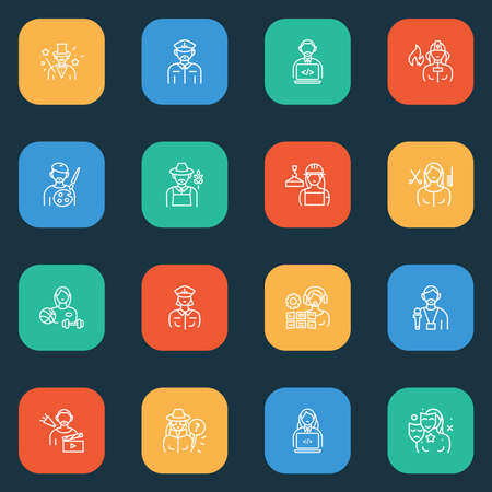 Person icons line style set with builder woman, painter, athlete and other gardener elements. Isolated vector illustration person icons.