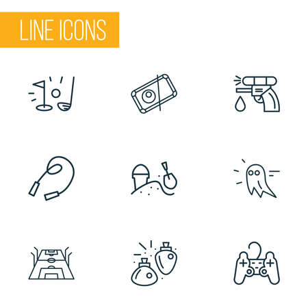 Games icons line style set with water gun, sandbox, mana potion snooker elements. Isolated vector illustration games icons.
